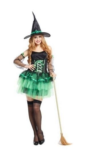 Костюм кокетливой ведьмочки зеленый (42-44)