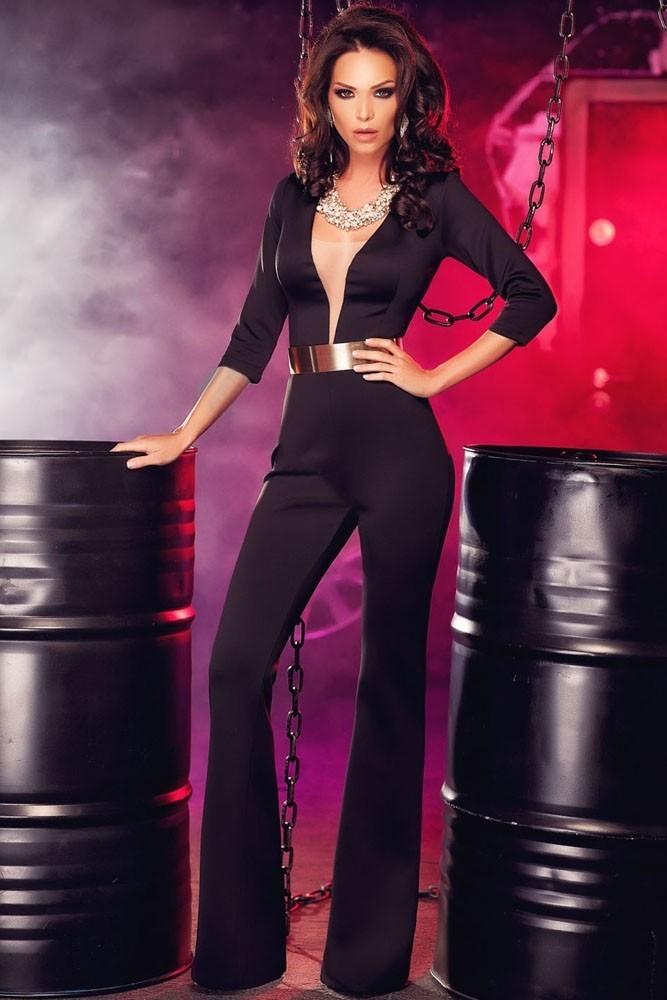 Черный комбинезон с вырезом (42-44) пижама жен mia cara майка шорты botanical aw15 ubl lst 264 р 42 44 1119503