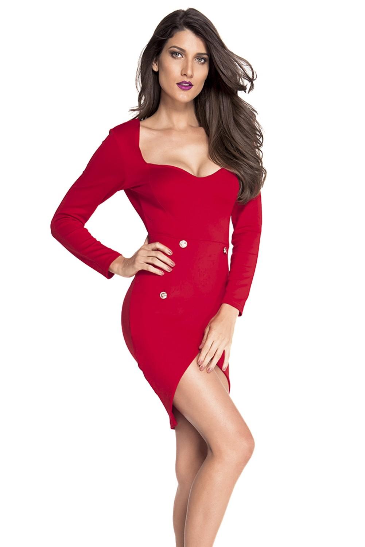 купить Красное платье с квадратным вырезом (44-46) недорого
