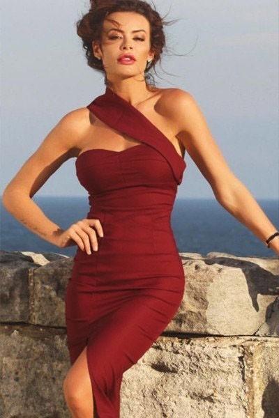 Бордовое платье миди (44-46) -  Коктейльные платья