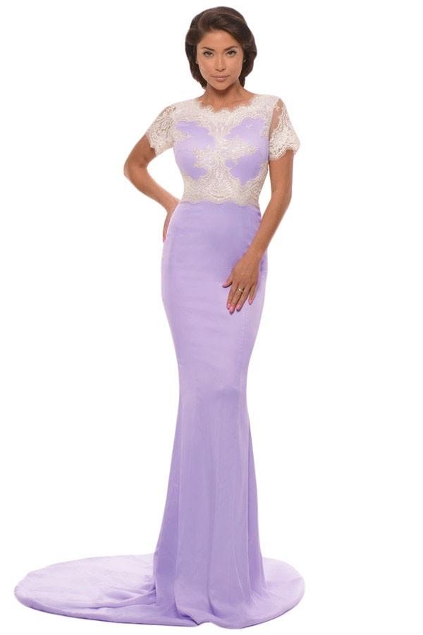 Сиреневое платье в пол (46)