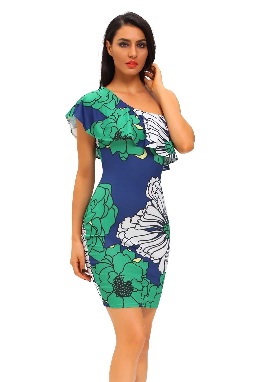 Сине-зеленое цветочное платье (44-46) зеленое платье