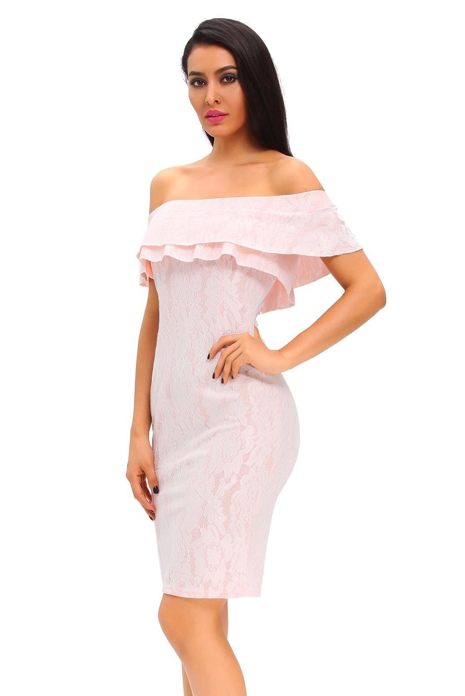 Светло-розовое кружевное платье (44-46) -  Коктейльные платья