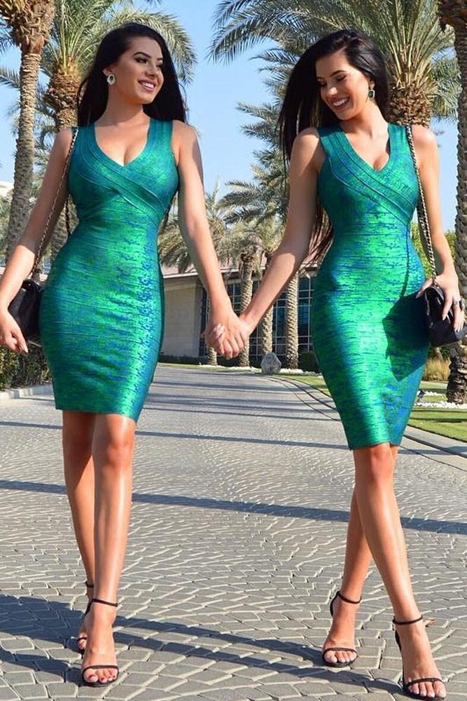 Зеленое блестящее платье Dlx (48-50) -  Коктейльные платья