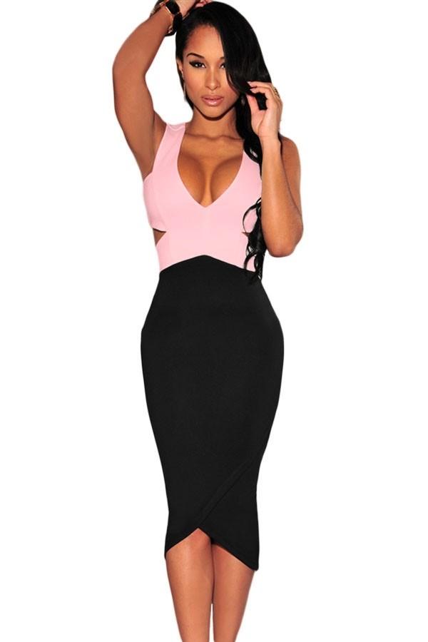 Черно-розовое платье миди (44-46) -  Коктейльные платья
