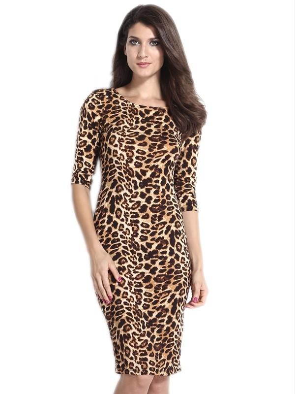 Леопардовое платье миди (40-44) -  Коктейльные платья
