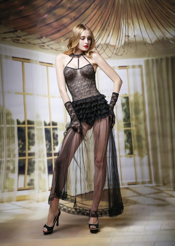 Кружевной комплект с ночным платьем (42-44) -  Женские комплекты