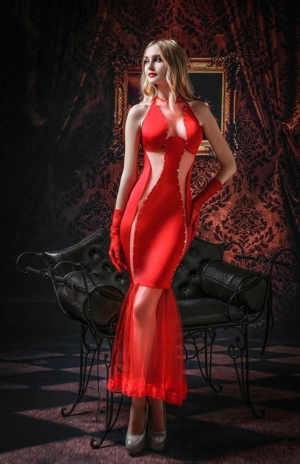 Красное платье с перчатками (42-44) -  Коктейльные платья