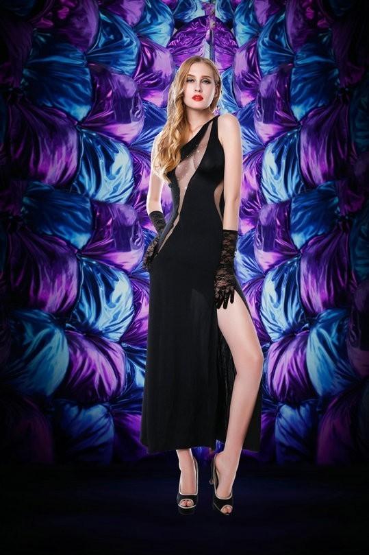 Черное платье с перчатками (42-44) элегантное черное платье где
