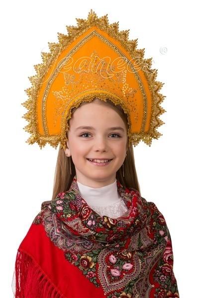 Детский оранжевый кокошник лифчик для девочек 14 лет