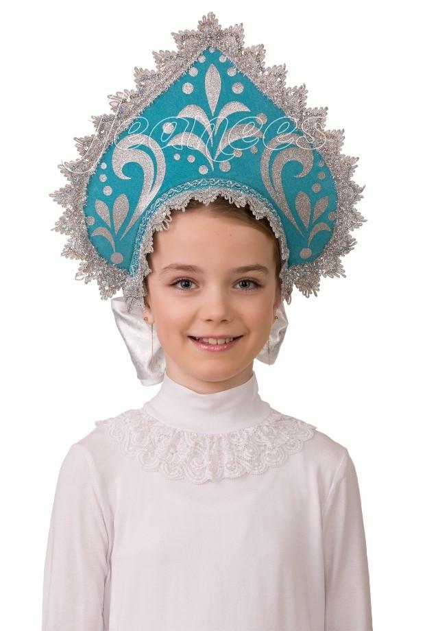 Детский бирюзовый кокошник лифчик для девочек 14 лет