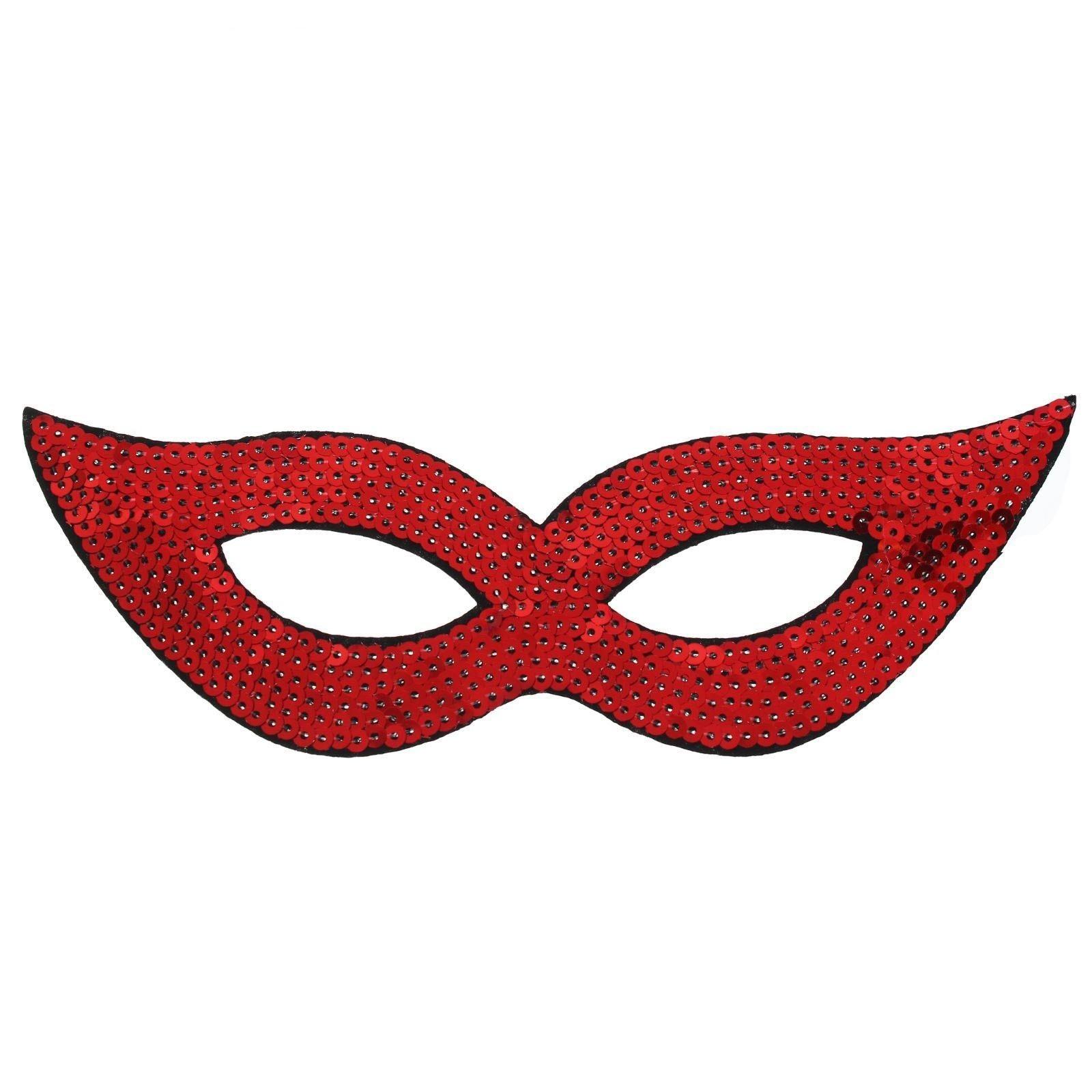 Красная маска на глаза с пайетками (UNI) плащ и маска штурмовик uni