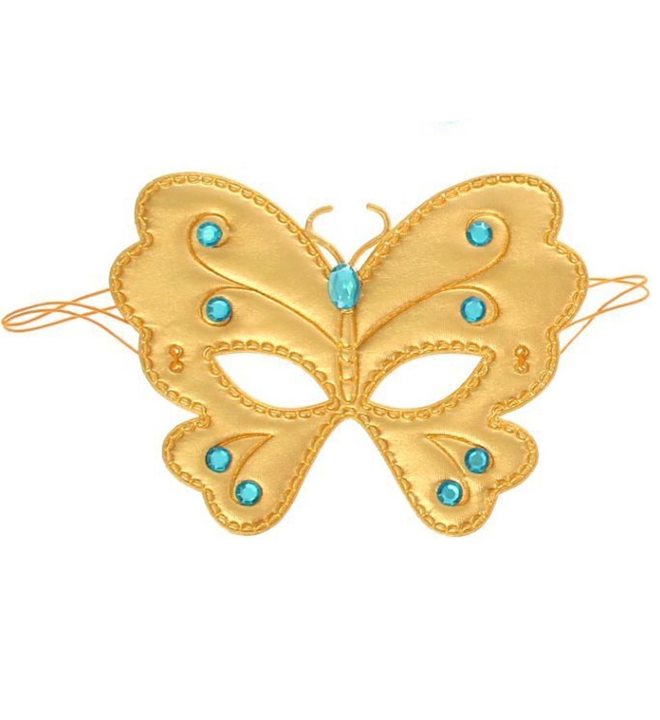 Золотая маска на глаза Бабочка (UNI) маска в форме бабочки оранжевая uni