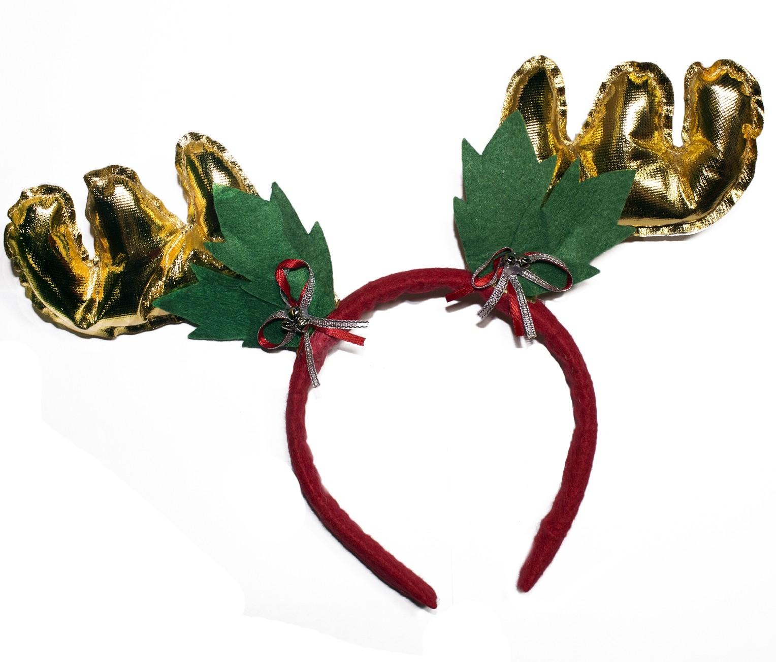 Новогодние оленьи рожки золотистые - Аксессуары на Новый год 2017