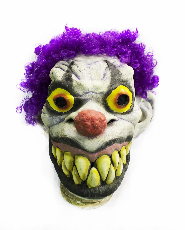 Латексная маска клоуна с фиолетовыми волосами (UNI) маска с выпуклым носом розовая uni