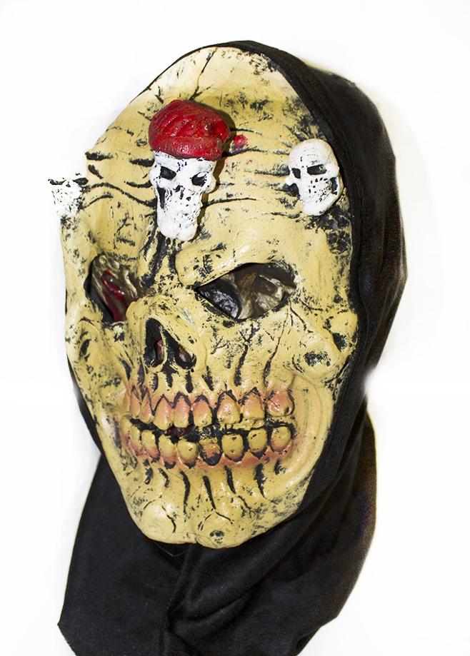 Желтая латексная маска черепа (UNI) маска черепа с рукой uni
