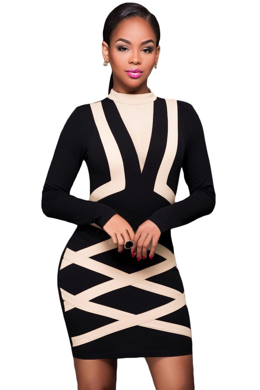 Черное платье с полосами (44) элегантное черное платье где