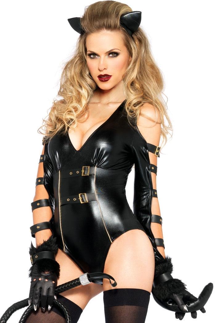 Латексный черный костюм кошечки (40-44) -  Боди