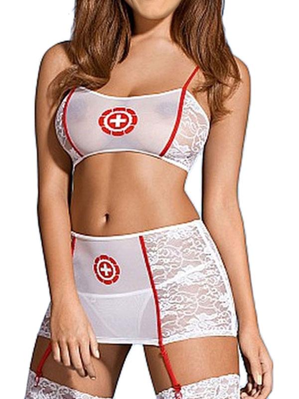 Сетчатый комплект медсестры (40-44) комплект медсестры белый бюстгальтер юбочка с пажами головной убор
