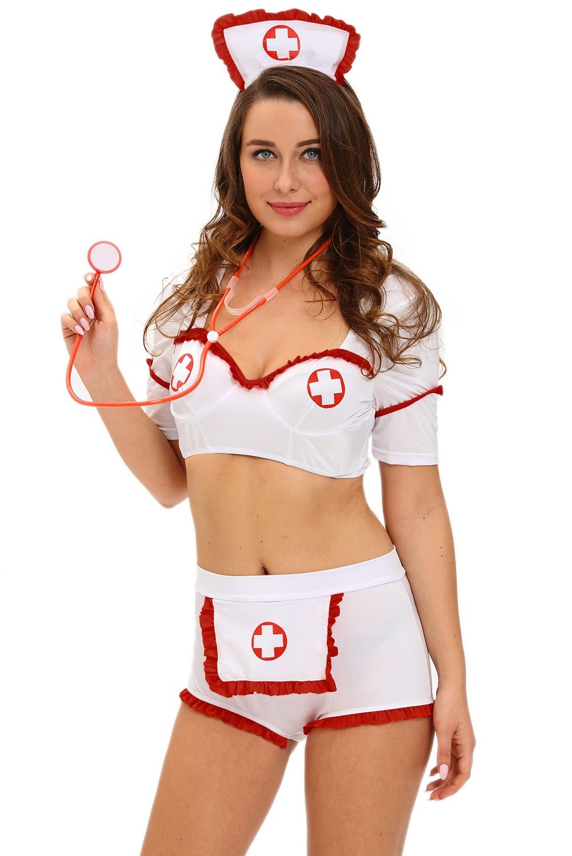 Комплект медсестры с шортиками (46) комплект медсестры белый бюстгальтер юбочка с пажами головной убор