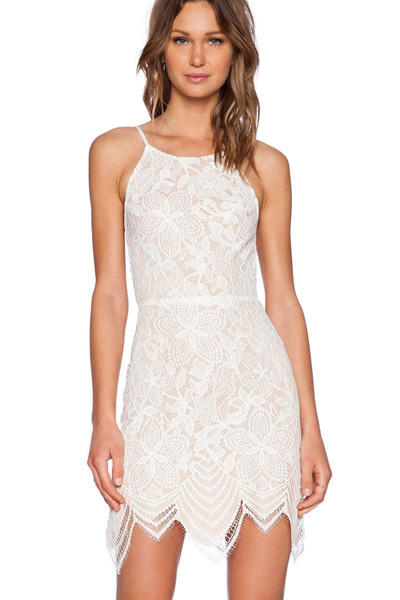Кружевное мини-платье белое (40-44) белое платье