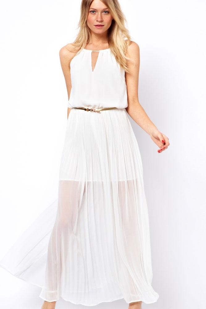 Шифоновое белое платье (44-46) белое платье