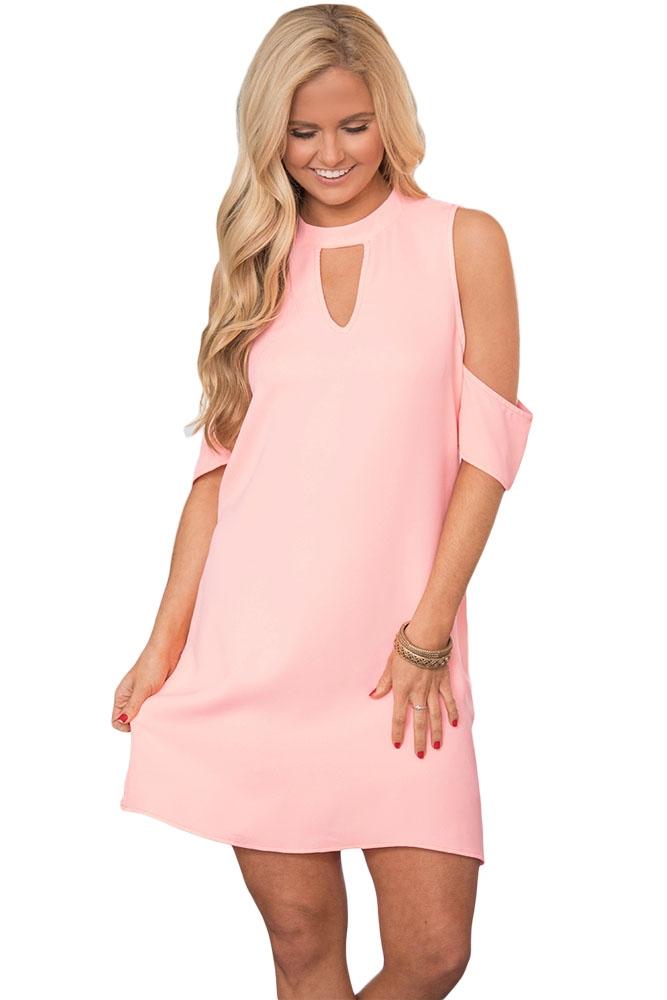 Розовое платье с открытыми плечиками (46)