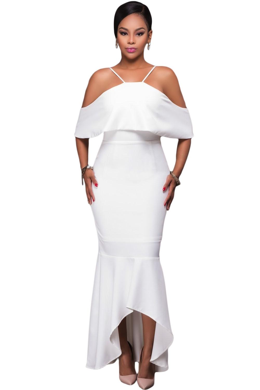 Белое платье с оборками (44-46) белое платье