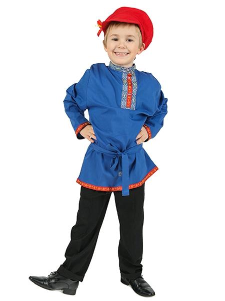 Льняная косоворотка синего цвета (XS) - Русские народные сказки