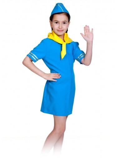Синий детский костюм стюардессы (M) - Униформа