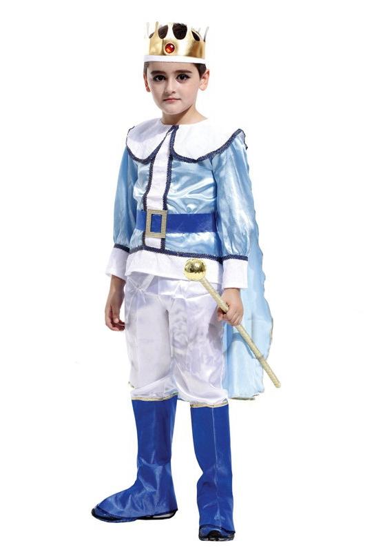 Детский костюм Короля в бело-голубом (34-36) -  Исторические костюмы