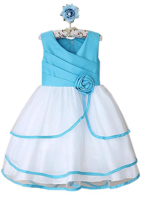Бело-голубое платье (32) платье голубое в белый горошек