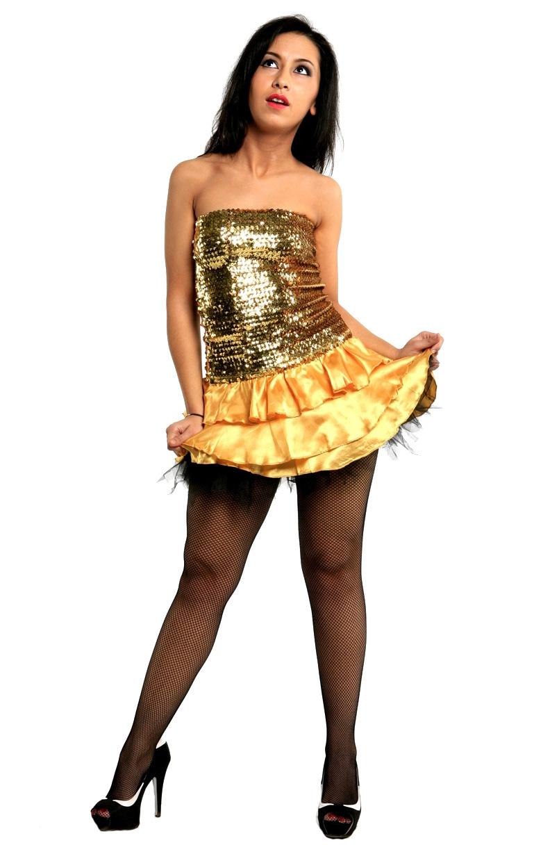 Золотистое платье (42-46) -  Ретро