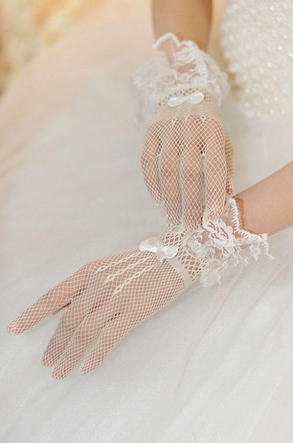 Белые перчатки с воланами (UNI) - Перчатки и рукава