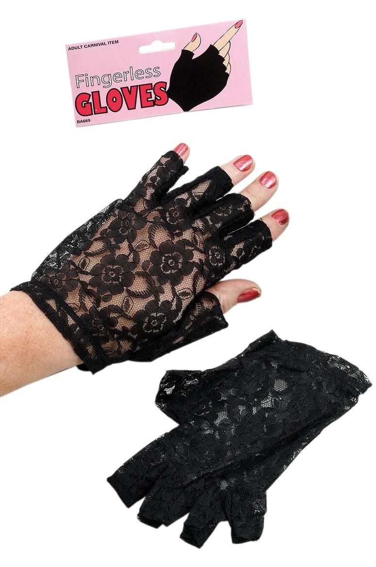 Черные кружевные перчатки без пальцев (46) - Перчатки и рукава, р.46