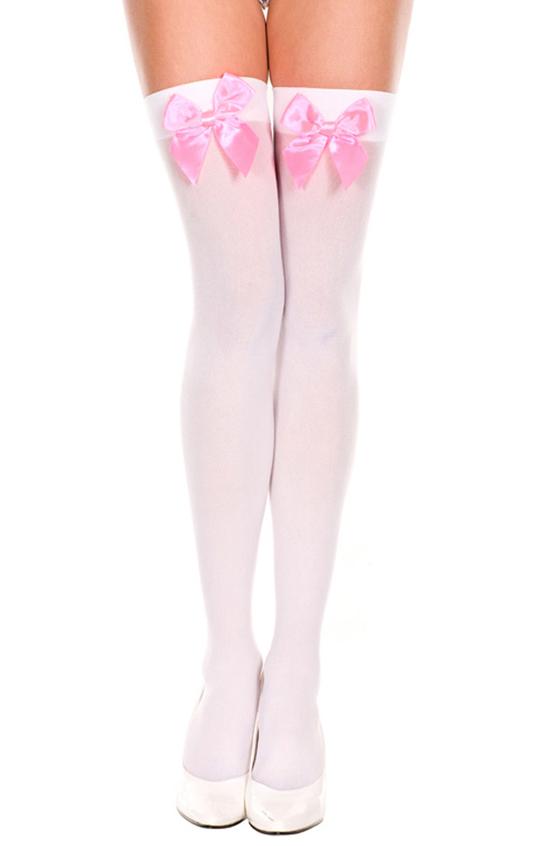 Белые чулки с розовым бантом (42-46) чулки женские свадьба