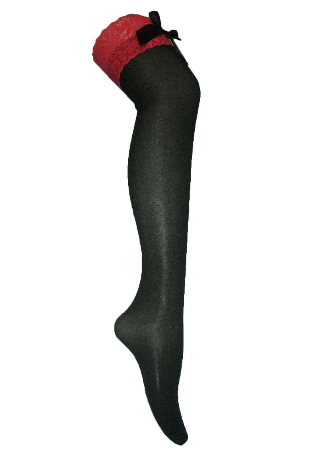 Черные чулки с красной резинкой и бантом (42-46) чулки seven til midnight большого размера с кружевной резинкой xl телесный