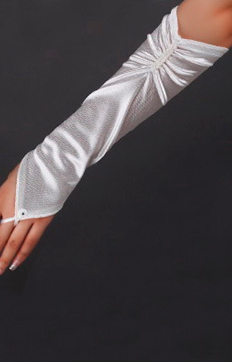 Белые перчатки без пальцев (46) - Перчатки и рукава, р.46