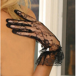 Черные короткие ажурные перчатки (UNI) - Перчатки и рукава