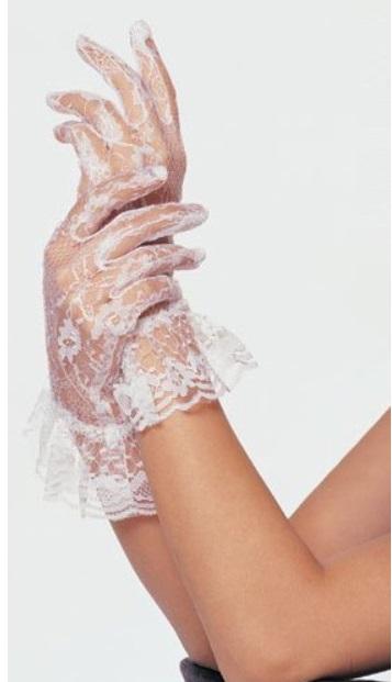 Белые короткие ажурные перчатки (46) - Перчатки и рукава, р.46