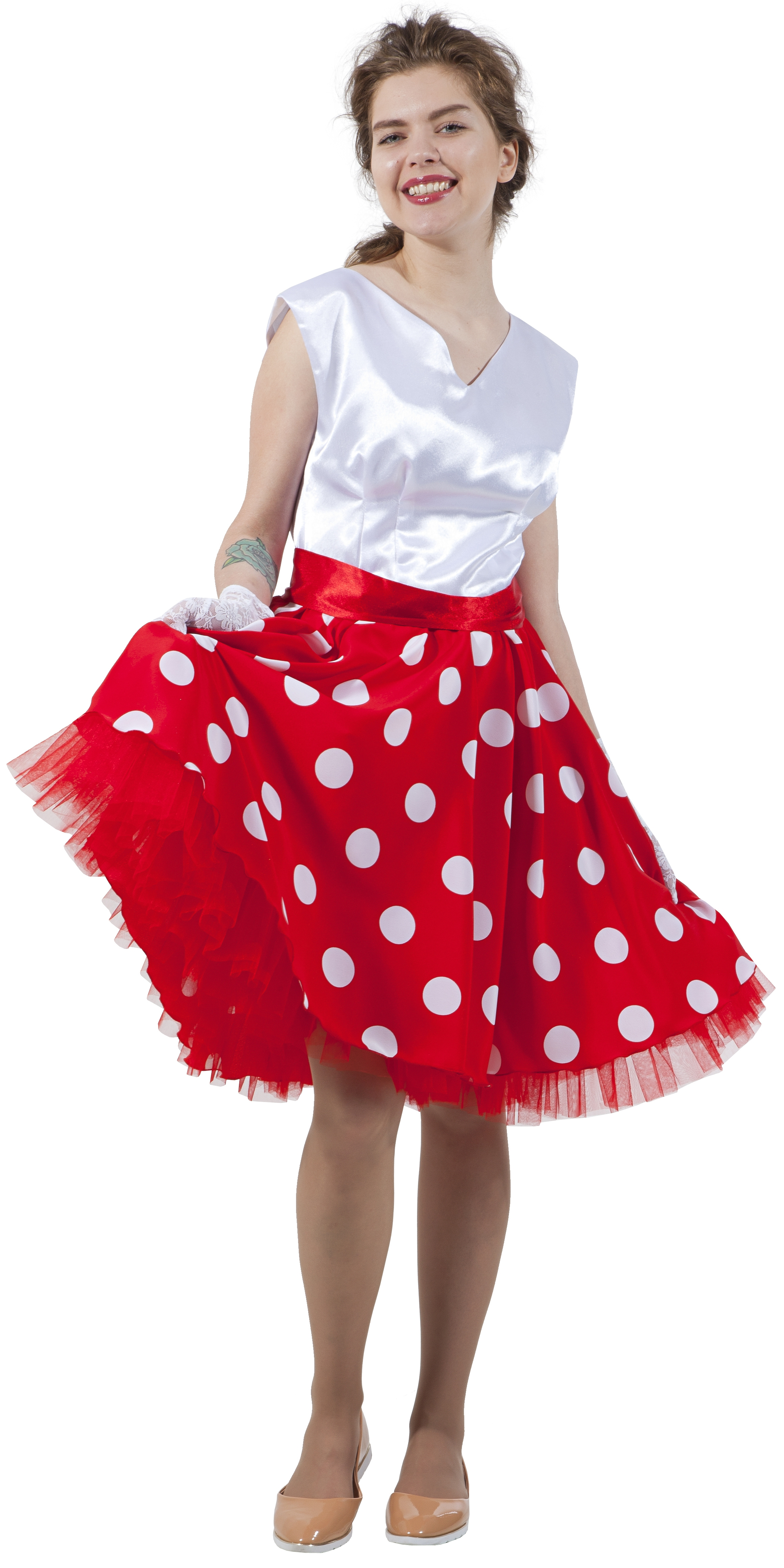 Красно-белое платье в стиле 50-х (44-46) -  Ретро