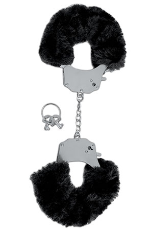 Черные меховые наручники (UNI) наручники черные с золотом uni
