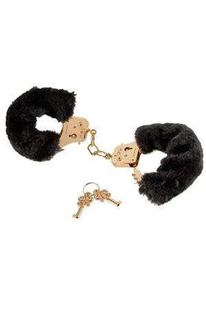 Золотые наручники с черным мехом (UNI) beastly двухсторонний карабин 10 см применяется как средство для связывания
