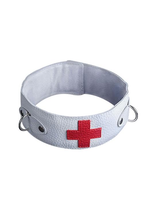 Ошейник белый с красным крестом (UNI) - Аксессуары для ролевых игр