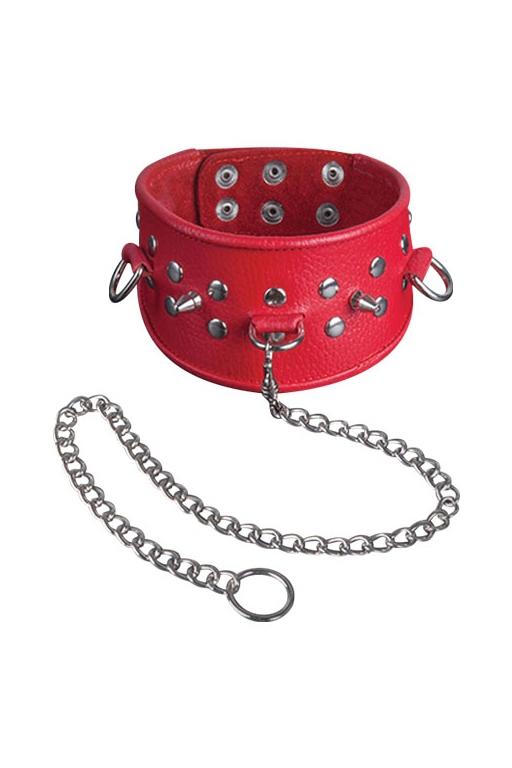 Красный ошейник с заклепками (UNI) - Аксессуары для ролевых игр