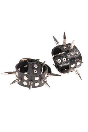 Черные наручники с шипами (UNI) корсаж и трусики avanua eternity corset красно черные s m