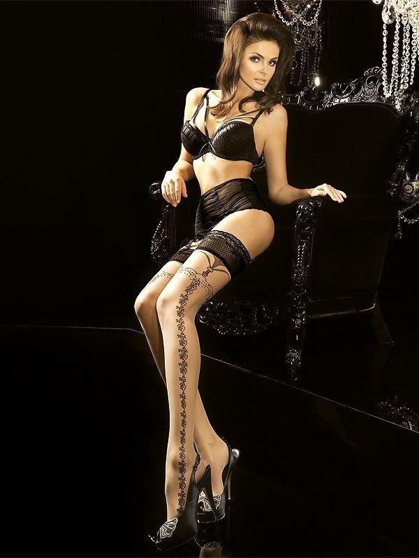 veneziana calze lolita телесные чулки с бантиками на задней поверхности Чулки с черными узорами телесные (3-4)