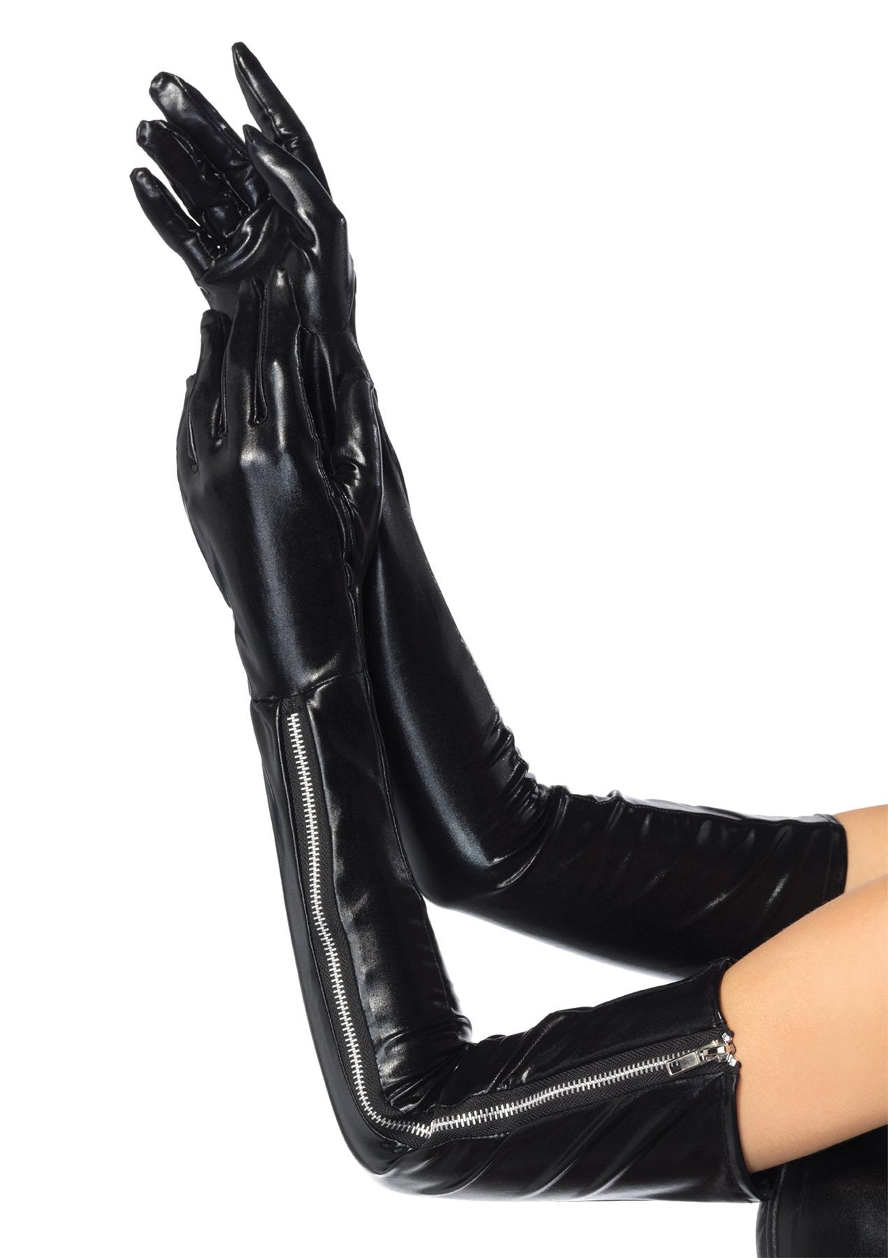 Длинные черные перчатки с молнией (UNI) - Перчатки и рукава