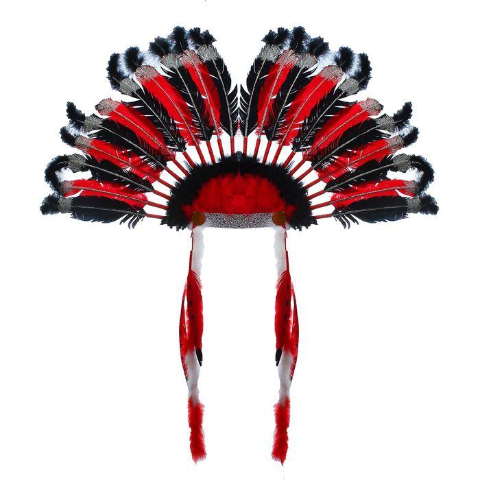 Головной убор Индейца красный (UNI) -  Аксессуары на карнавал