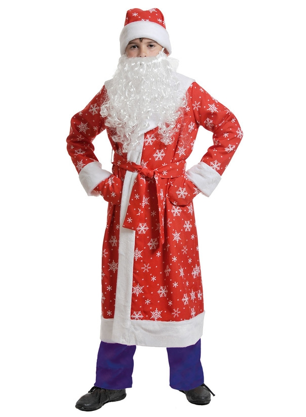 Детский костюм Деда Мороза в красном (XS) детский костюм деда мороза голубой 38